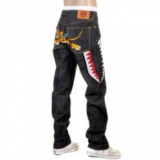 Flying Tiger Slimmer Cut Mens Black Selvedge Raw Denim Jeans