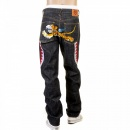 RMC JEANS Flying Tiger Slimmer Cut Mens Black Selvedge Raw Denim Jeans