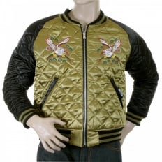 Fully Reversible Gold and Black Silk Quilted Jacket with Embroidered Eagle and Tiger