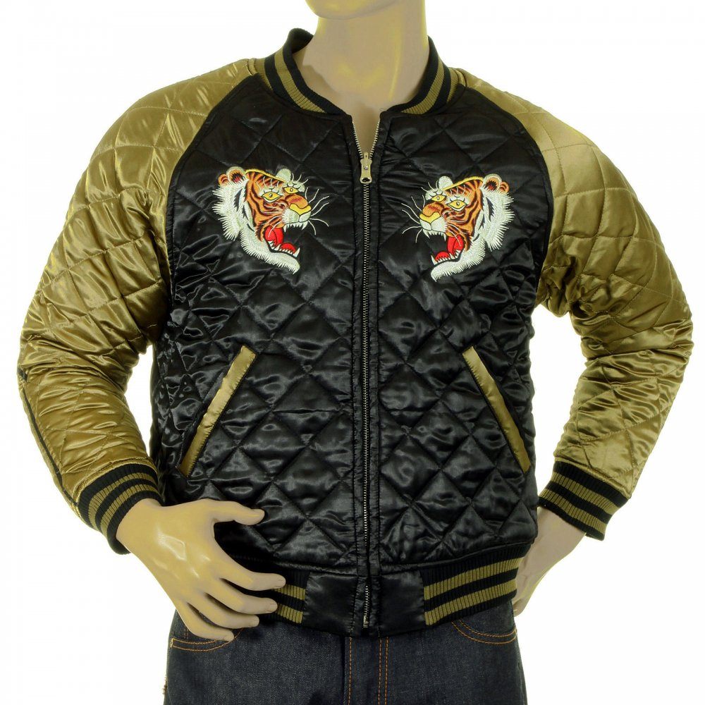 ... RMC JEANS Fully Reversible Gold and Black Silk Quilted Jacket with  Embroidered Eagle and Tiger ...