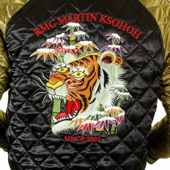 RMC JEANS Fully Reversible Gold and Black Silk Quilted Jacket with Embroidered Eagle and Tiger