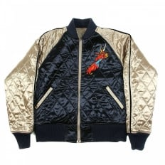 Fully Reversible Navy and Champagne Regular Fit Quilted Blouson jacket with Dragon Claw Embroidery