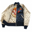 RMC JEANS Fully Reversible Navy and Champagne Regular Fit Quilted Blouson jacket with Dragon Claw Embroidery