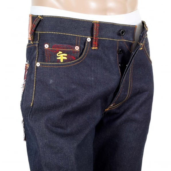 RMC JEANS Genuine Dark Indigo Raw Denim Jeans with Embroidered Fuji Mountain and Samurai Camo