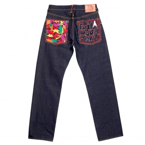 RMC JEANS Genuine Dark Indigo Raw Denim Jeans with Embroidered Fuji Mountain and Samurai Camo