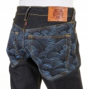 RMC JEANS Genuine Dark Indigo Vintage Cut Raw Denim with Full Back Blue Tsunami Wave Embroidery
