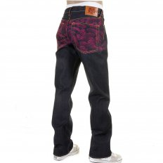Genuine Dark Indigo Vintage Cut Raw Denim with Full Back Fuchsia Tsunami Wave Embroidery