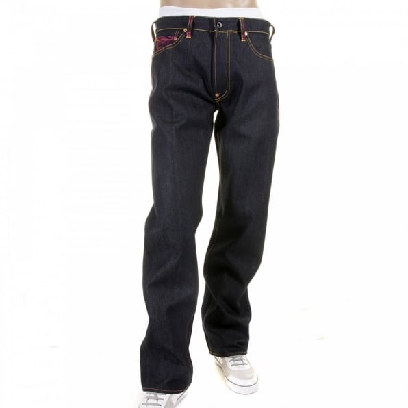 RMC JEANS Genuine Dark Indigo Vintage Cut Raw Denim with Full Back Fuchsia Tsunami Wave Embroidery
