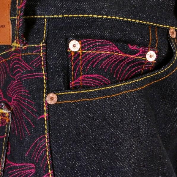RMC JEANS Genuine Dark Indigo Vintage Cut Raw Denim with Full Back Fuchsia Tsunami Wave Embroidery