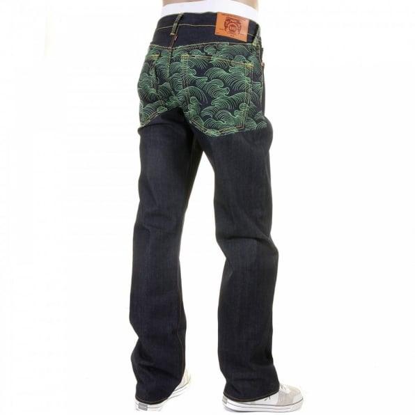 RMC JEANS Genuine Dark Indigo Vintage Cut Raw Denim with Full Back Green Tsunami Wave Embroidery