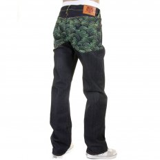 Genuine Dark Indigo Vintage Cut Raw Denim with Full Back Green Tsunami Wave Embroidery