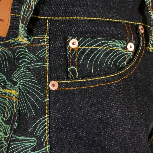 RMC JEANS Genuine Dark Indigo Vintage Cut Raw Denim with Full Back Green Tsunami Wave Embroidery