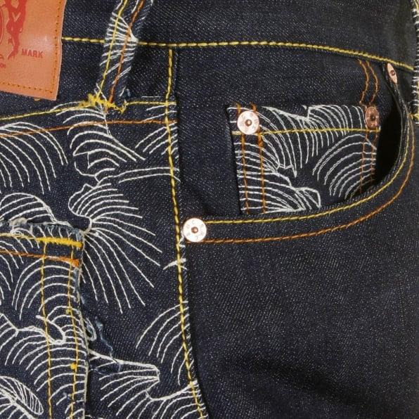 RMC JEANS Genuine Dark Indigo Vintage Cut Raw Denim with Full Back off White Tsunami Wave Embroidery