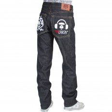Genuine Super Exclusive Slim Indigo Raw Selvedge Denim Jeans with Embroidered Like Black Monsterider FM Union