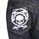 RMC JEANS Genuine Super Exclusive Slim Indigo Raw Selvedge Denim Jeans with Embroidered Like Black Monsterider FM Union