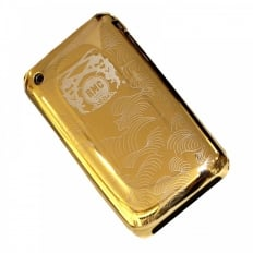 Gold Covered Aluminium IPHONE 3 Case with Slider