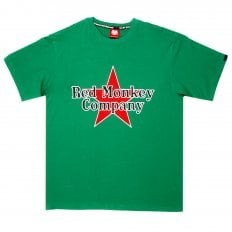 Green Crew Neck Regular Fit T-Shirt with Printed Red Star