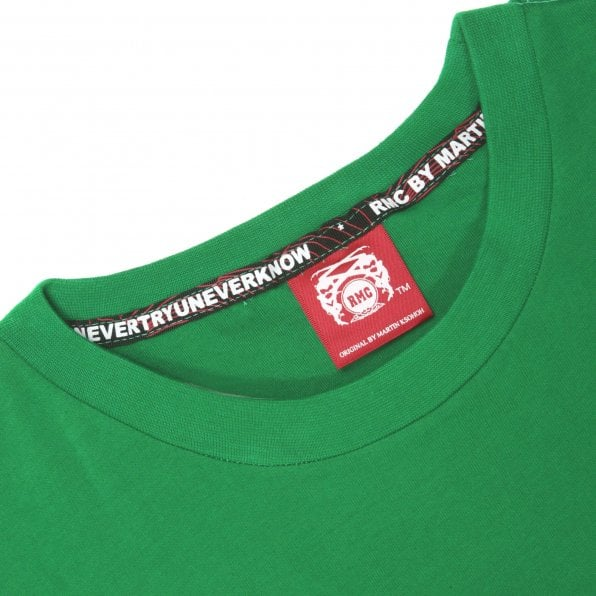 RMC JEANS Green Crew Neck Regular Fit T-Shirt with Printed Red Star