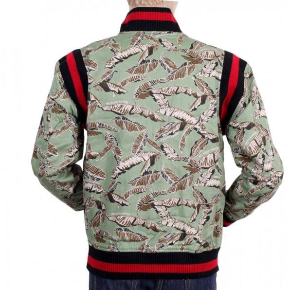 RMC JEANS Green Leaf Camo Baseball Blazer Jacket