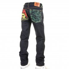 Green Tsunami Wave and Painted Logo Slim Fit Jeans
