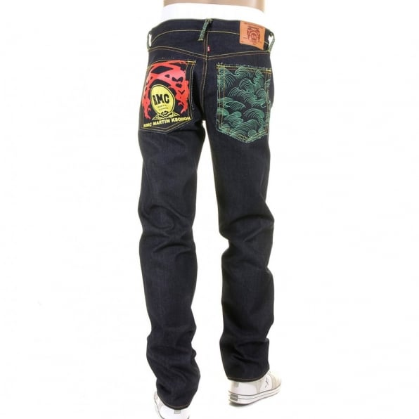 RMC JEANS Green Tsunami Wave and Painted Logo Slim Fit Jeans