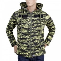 Green Vintage Camouflage Zipped Hooded Sweat Jacket