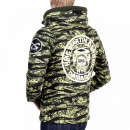 RMC JEANS Green Vintage Camouflage Zipped Hooded Sweat Jacket
