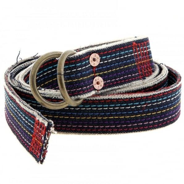 RMC JEANS Handmade embroidered rainbow combo denim belt