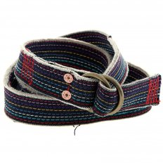 Handmade embroidered rainbow combo denim belt