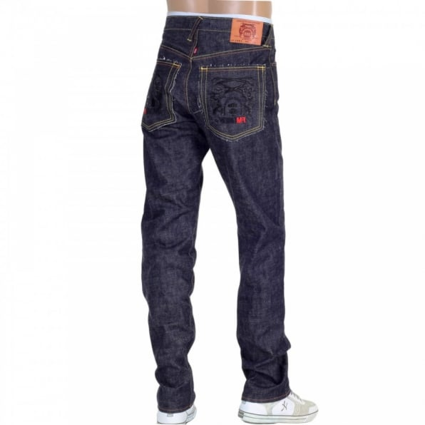 RMC JEANS Indigo Raw Japanese Denim Selvedge with Black Embroidered Front and Back