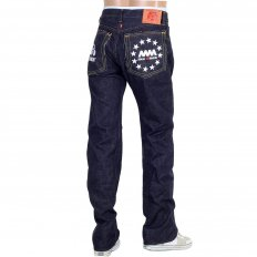 Indigo Raw Japanese Selvedge Denim Jeans with White Embroidery