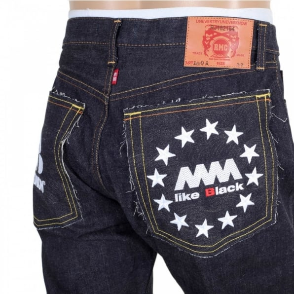 RMC JEANS Indigo Raw Japanese Selvedge Denim Jeans with White Embroidery