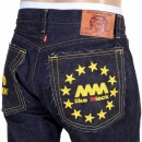 RMC JEANS Indigo Raw Japanese Selvedge Denim with Gold Embroidery