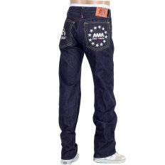 Indigo Raw Selvedge Silver Embroidery FM Union Slim Fit Denim Jeans