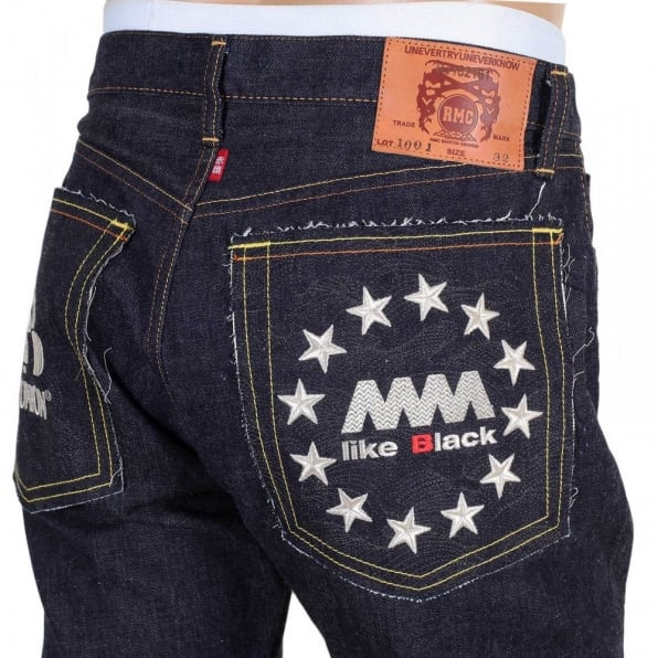 RMC JEANS Indigo Raw Selvedge Silver Embroidery FM Union Slim Fit Denim Jeans