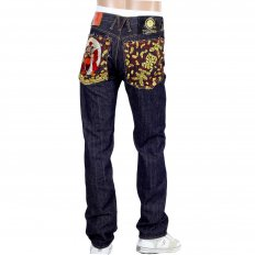 Japan Selvedge Lucky Buddha Gold Nugget Kanji Embroidered Jeans