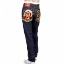 RMC JEANS Japan Selvedge Lucky Buddha Gold Nugget Kanji Embroidered Jeans