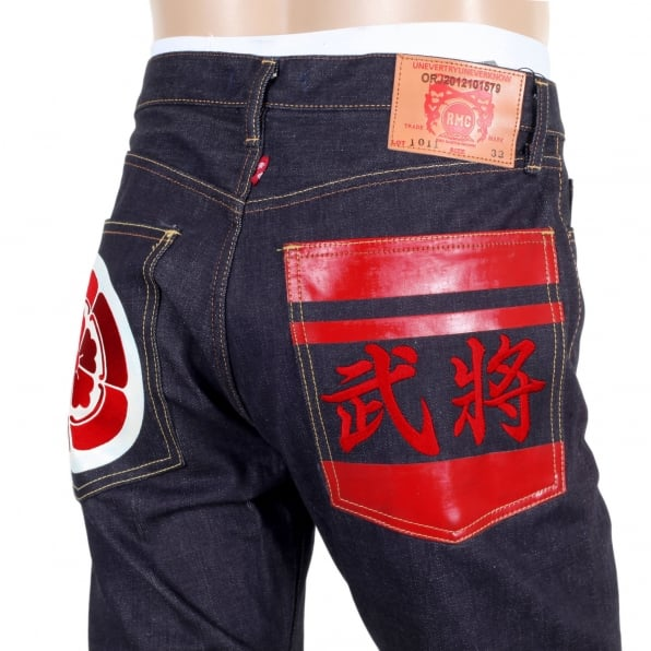 RMC JEANS Japanese 1011 Slimmer Model RQP14123 Raw Selvedge Denim Jeans with Embroidered and Painted Sengoku Pockets