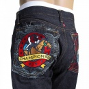RMC JEANS Japanese Indigo Selvedge Raw Mens Denim Jeans with Embroidered Jockey and Horseshoe