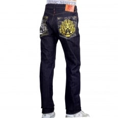 Japanese Model 1001 Raw Selvedge Denim Jeans with Tiger Head on Tsunami Waves Embroidered Pockets