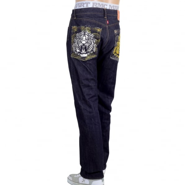 RMC JEANS Japanese Model 1001 Raw Selvedge Denim Jeans with Tiger Head on Tsunami Waves Embroidered Pockets