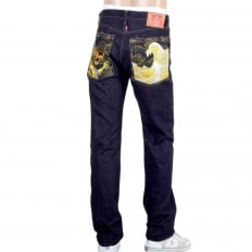 Japanese Selvedge Denim 1011 Slimmer Model RQP14121 Gold Dragon and Tsunami Wave Embroidered Jeans for Men