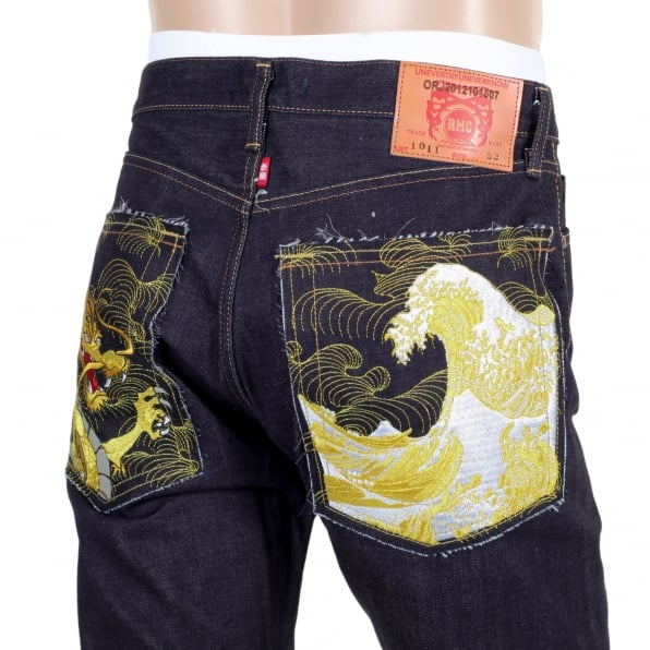 RMC JEANS Japanese Selvedge Denim 1011 Slimmer Model RQP14121 Gold Dragon and Tsunami Wave Embroidered Jeans for Men