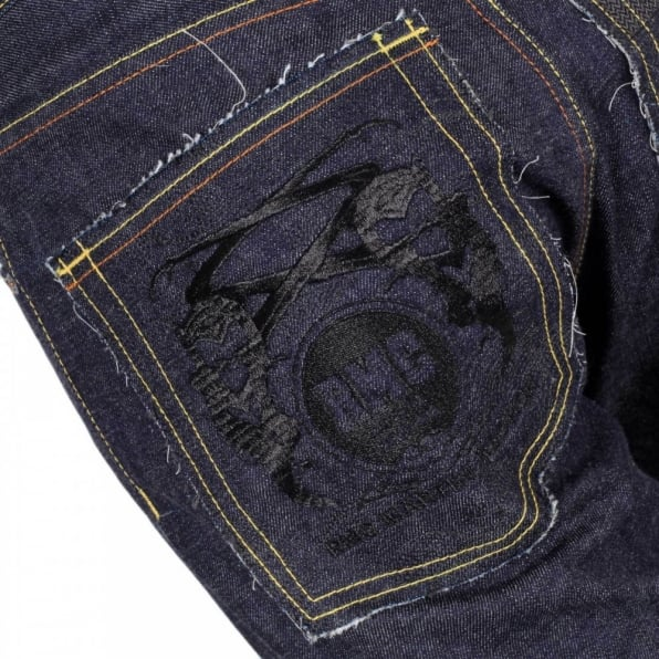 RMC JEANS Japanese Selvedge Indigo Raw Denim Jeans with Black Embroidered FM Union