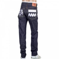 Japanese Selvedge Indigo Raw Denim Jeans with White and Red Embroidered FM Union