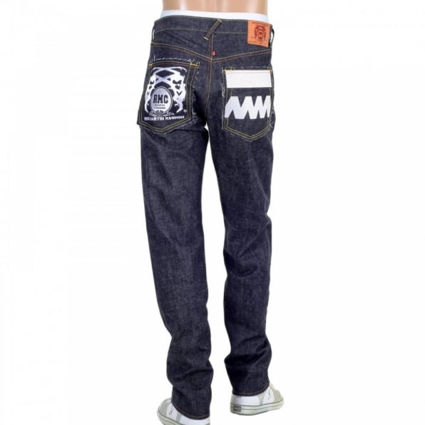 RMC JEANS Japanese Selvedge Indigo Raw Denim Jeans with White and Red Embroidered FM Union
