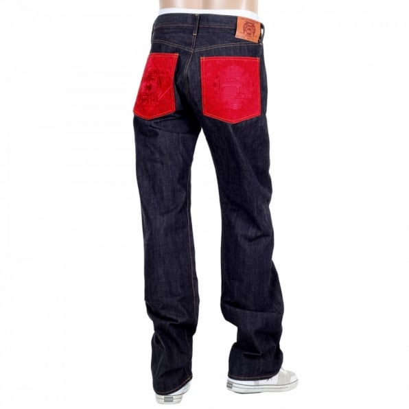 RMC JEANS Japanese Selvedge Indigo Raw Denim Mens Jeans with Red Pockets