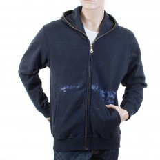 Large Fitting Zipped Front Hooded Navy Sweatshirt for Men