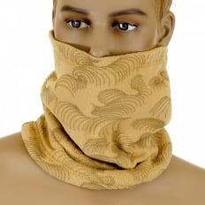 Latte Fleece Neck Warmer Snood with Tsunami Wave Embroidery