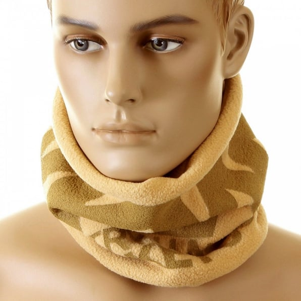 RMC JEANS Latte Fleece Neck Warmer Snood with Tsunami Wave Embroidery